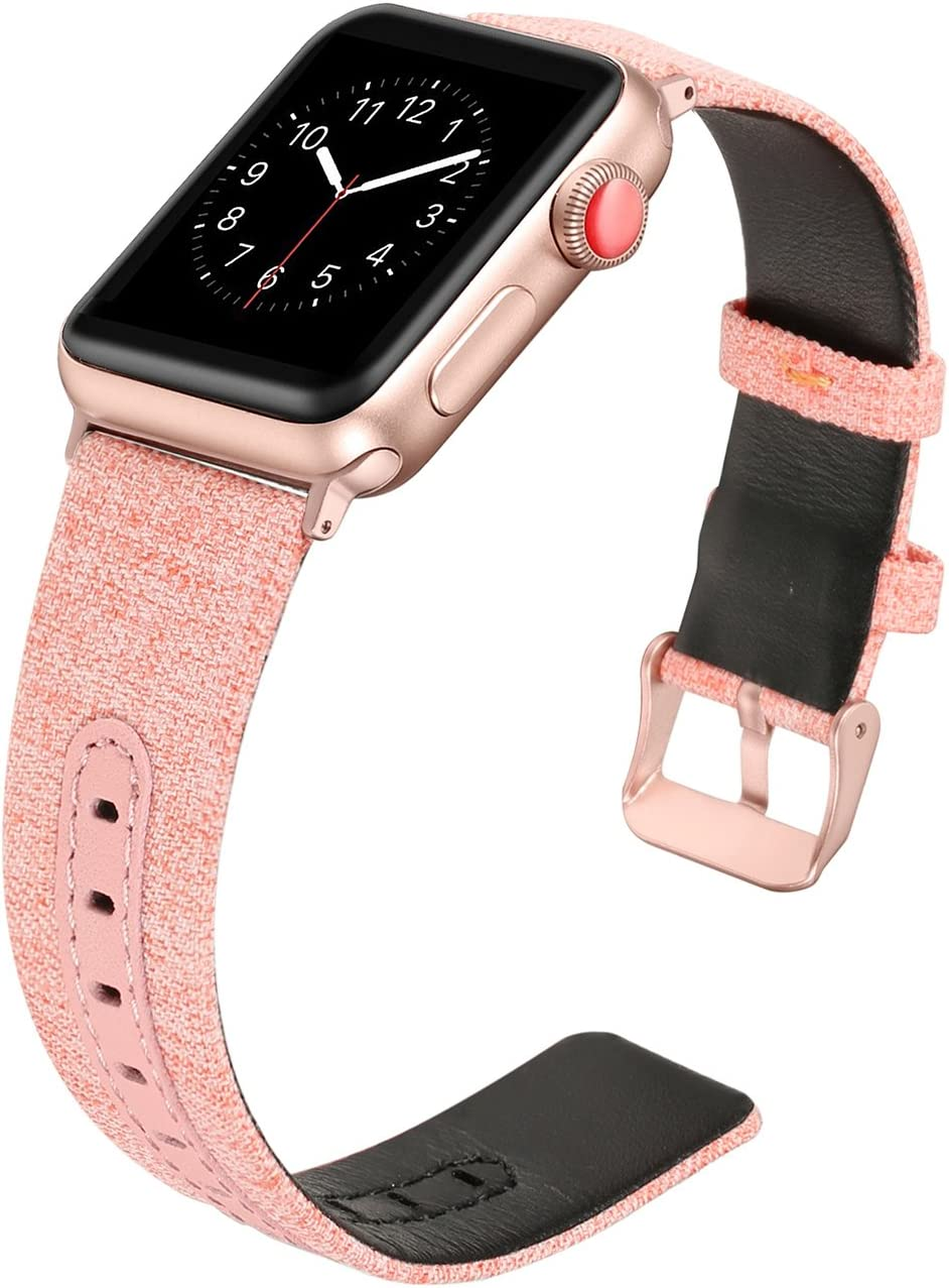 Secbolt Woven Band Compatible with Apple Watch Band 42mm 44mm iWatch Series 5 4 3 2 1, Canvas Fabric Strap with Genuine Leather Women Men