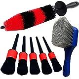 LUCKLYJONE 7Pcs Wheel & Tire Brush, car Detailing kit, 17inch Long Soft Wheel Brush 5 car wash Detail Brush car wash kit…