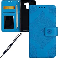 JAWSEU Coque Etui Huawei Honor 7 Portefeuille PU Étui Folio en Cuir à Rabat Magnétique Luxe Élégant Beautiful Une Fleur Motif Ultra Mince Stand Leather PU Case Flip Wallet Case