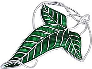 Broche/colgante élfico de hoja verde de Lorien de «El Señor de los anillos»