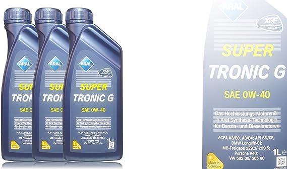 3x1 Liter Aral Super Tronic G Sae 0w 40 Auto