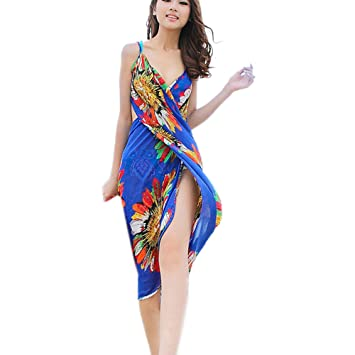 4abb13198ef3f Image Unavailable. Image not available for. Color: Sexy Lady Silk Chiffon  Beach Wrap Swimwear Sarong Pareo Cover up Bikini Scarf Sapphire