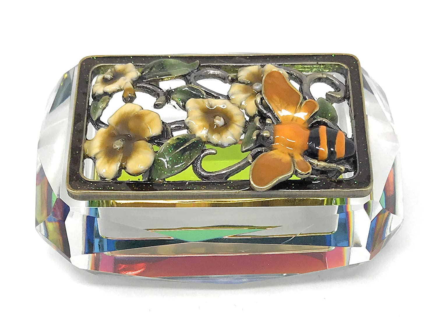 Accented with Austrian Crystals 3.25 Inches Long Kubla Crafts Enameled Honeybee and Flowers on Cut Glass Trinket Box