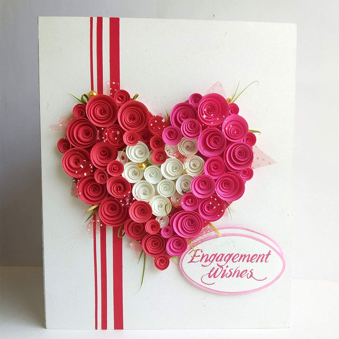 Swapnil Arts Handmade 3D Paper Quilling Engagement Greeting Card- Gift for  Fiancee/Fiance/Friend/Couple: Amazon.in: Office Products