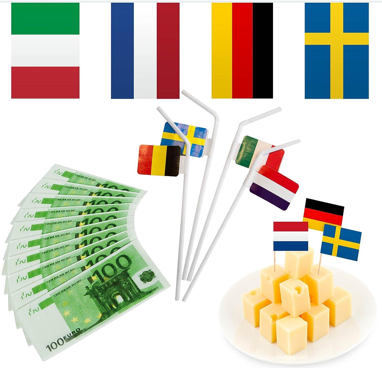 165 piezas – Juego de decoración * UE Países * para una fiesta de Europa con banderas banderines + FIESTA picksern + Pajitas + billete de 100 € Servilletas//Decoración Set Fiesta temática