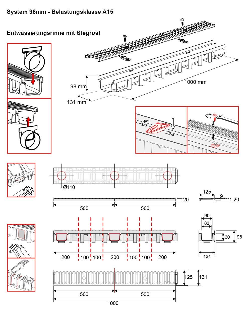 komplett Stegrost Kunststoff Schwarz Line 7m Entw/ässerungsrinne f/ür modulares System A15 98mm