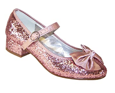 a8bb54d24b94f Girls pink glitter low heeled party shoes size 13  Amazon.co.uk ...