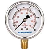 MEASUREMAN 2-1/2' dial, 1/4'NPT Lower, Glycerin Filled, Stainless Steel case, Brass Inside, 0-10psi/kpa