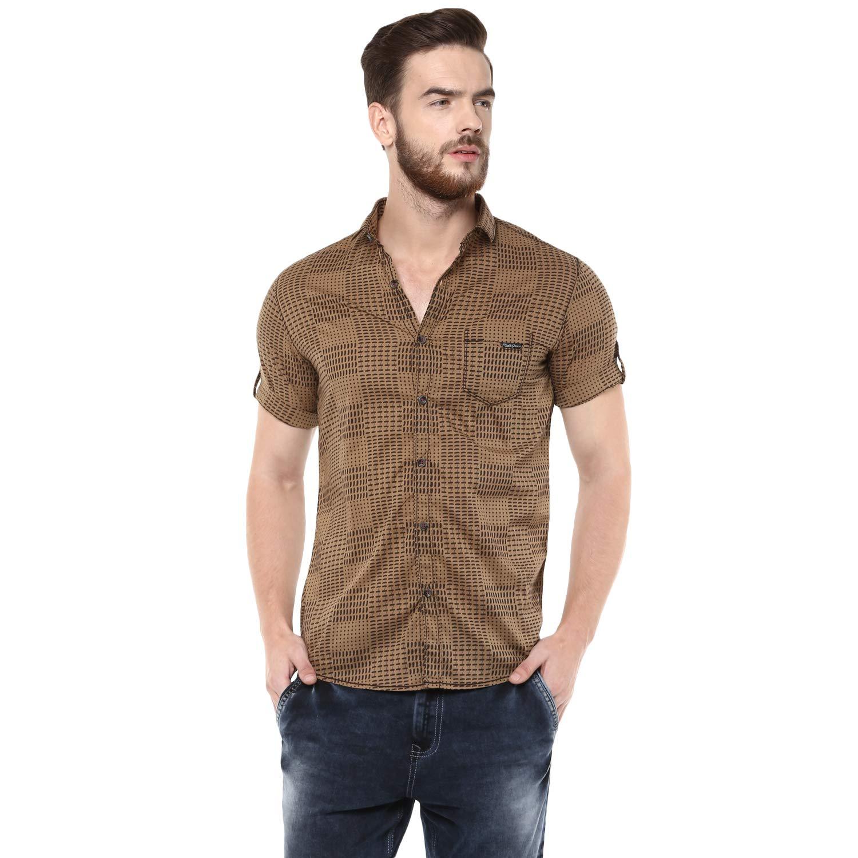 316e265d Mufti Men's Cotton Printed Half Sleeves Shirt (Khaki, Medium): Amazon.in:  Clothing & Accessories