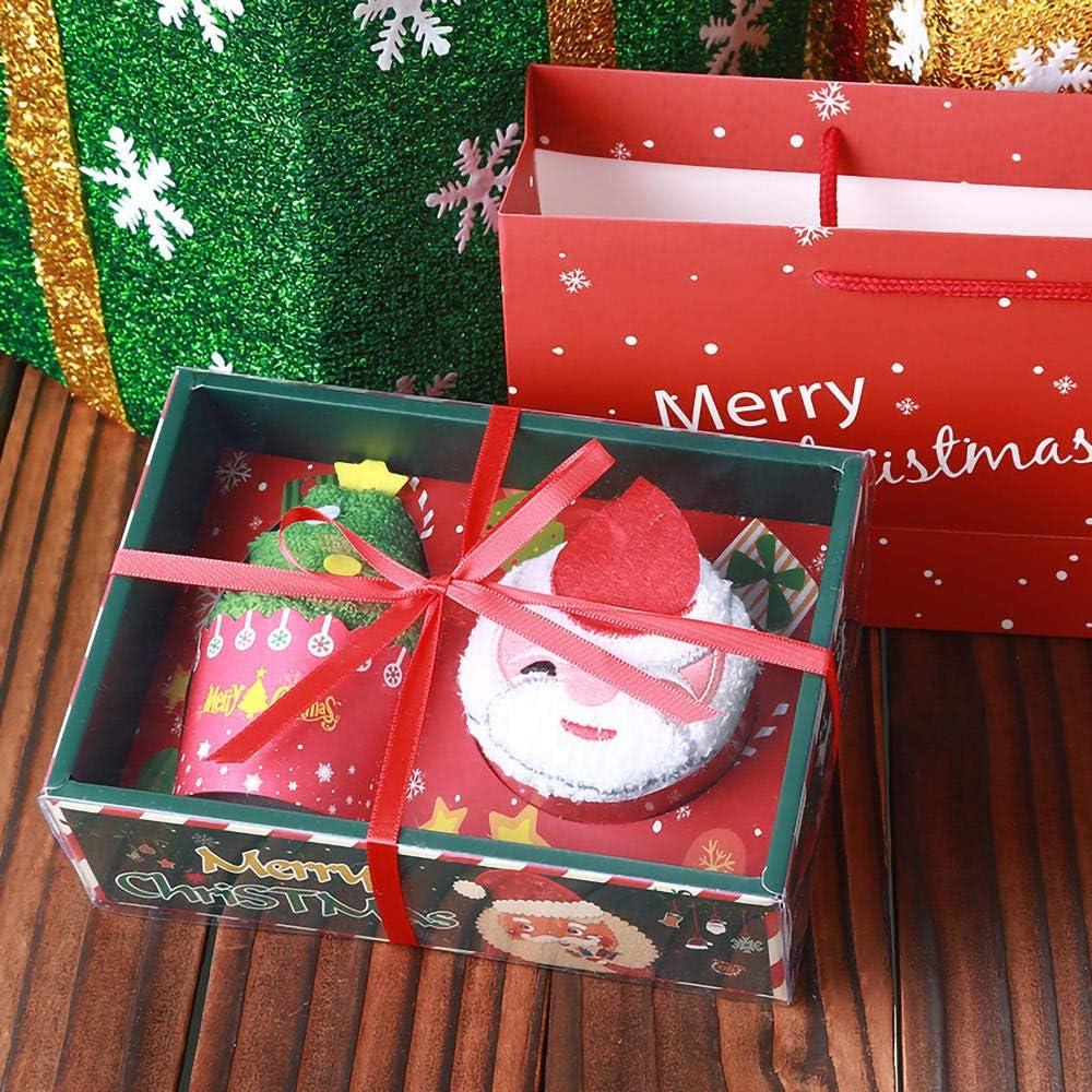3 sets-Pap/á Noel+/árbol de Navidad+vela de manzana toalla de modelado de Pap/á Noel MIMD Toalla de mano vela de manzana de Navidad toalla de modelado de /árbol de Navidad