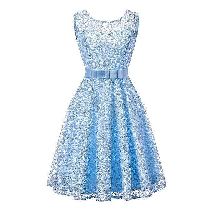 KT SUPPLY Vestidos Fiesta Mujer Vintage Elegantes Encaje Espalda Descubierta Noche sin Mangas con Cinturón Azul