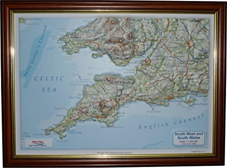 3d Relief Map Of Uk.Raised Relief Map Of South West England 13 5 X 10