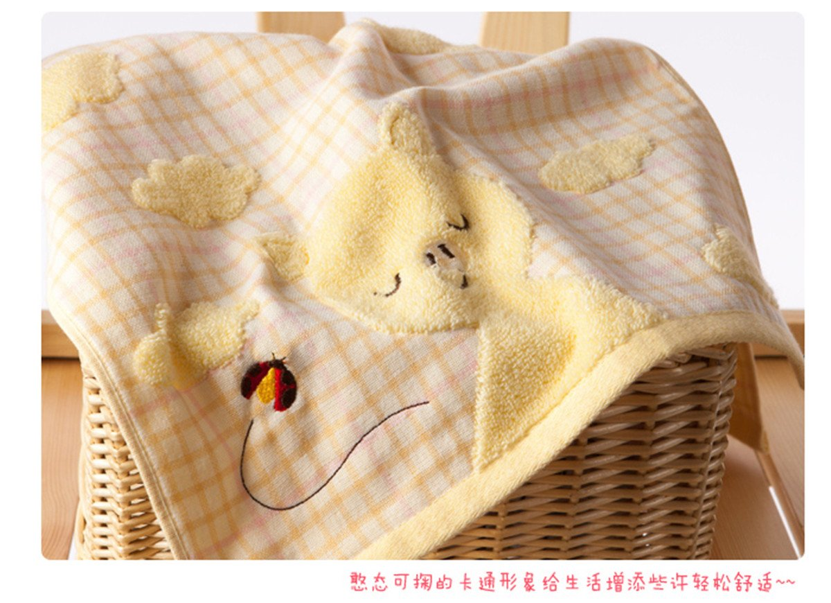 A.H 3Pcs/Set Lovely Cartoon Rabbit Animals Pattern Baby Kid Bathroom Hand Face Towels 35cm×35cm Square Cloth Blue/Yellow/Pink 100% Cotton Soft Touch X1572 (Yellow)