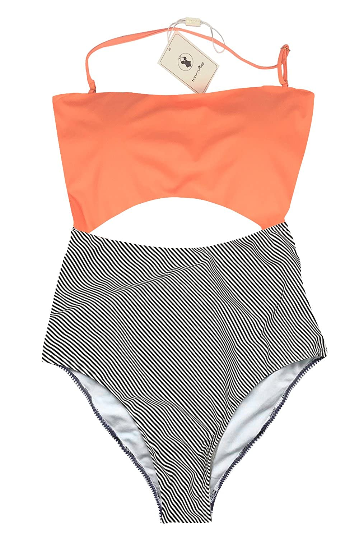 MiYang One Piece Halter Swimsuit Cutout Leaves Printing Stripe Swimwear YZ-MUCS186-OR-XL