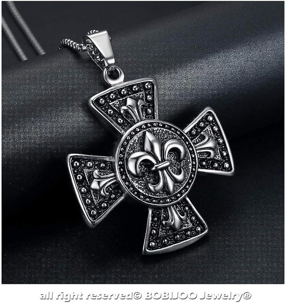 Imposantes Medaillon-Anh/änger BOBIJOO JEWELRY Kreuz patt/ée Templer-Ritter Fleur de LYS Edelstahl