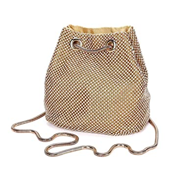 e55e4676a60ad Damen Abendtasche Clutch Umhängetasche Kleine Pailletten Handtasche  Schultertasche Kette Tasche für Hochzeit Party Disko - Gold