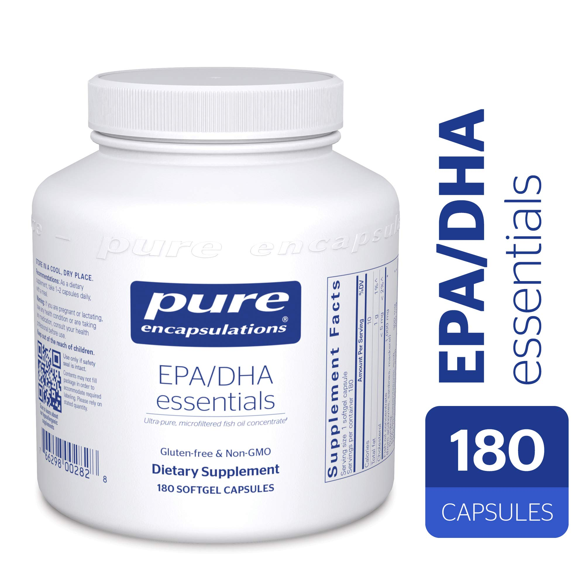 Pure Encapsulations - EPA/DHA Essentials - Ultra-Pure, Molecularly Distilled Fish Oil Concentrate - 180 Softgel Capsules by Pure Encapsulations