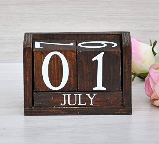Exceptional Wood Perpetual Calendar Rustic Perpetual Calendar Wooden Desk Calendar  Blocks Office Desk Decoration Nursery Decor Rustic