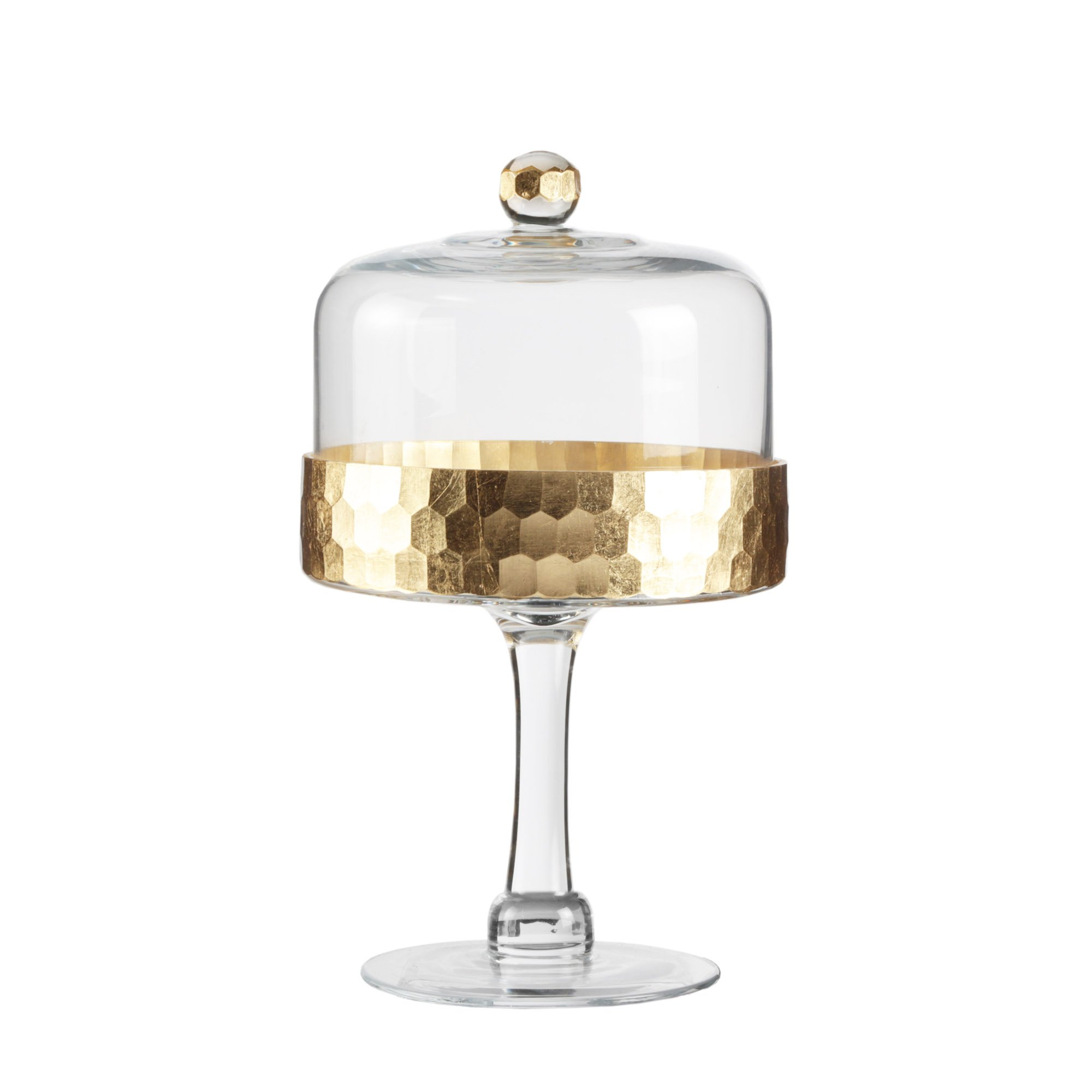 Fitz & Floyd 212705-11PD Daphne Gold Glass Pedestal Plate with Dome