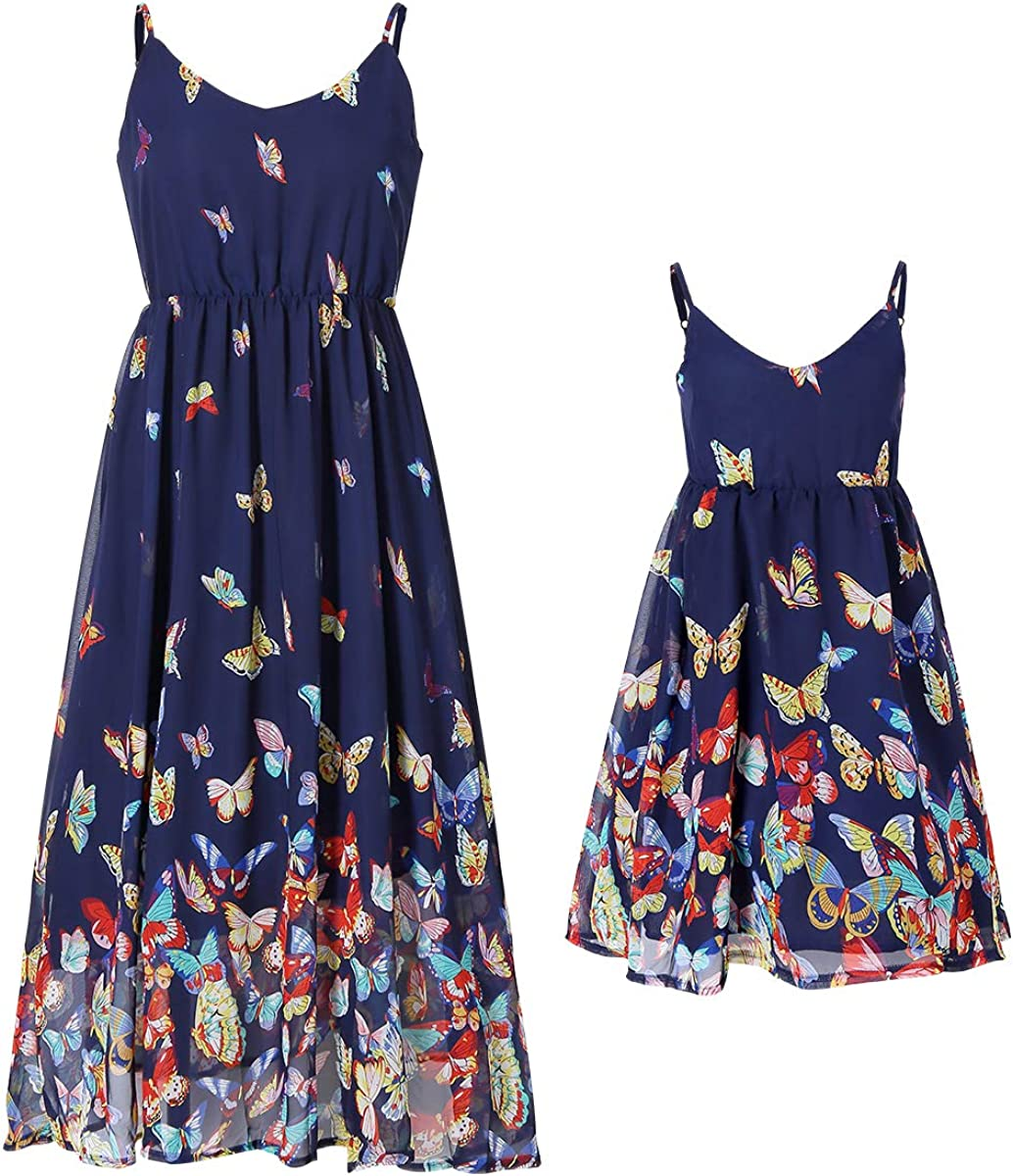 PopReal Mommy and Me Dresses Vintage Butterfly Floral Printed Spaghetti Straps V-Neck Beach Cami Dress