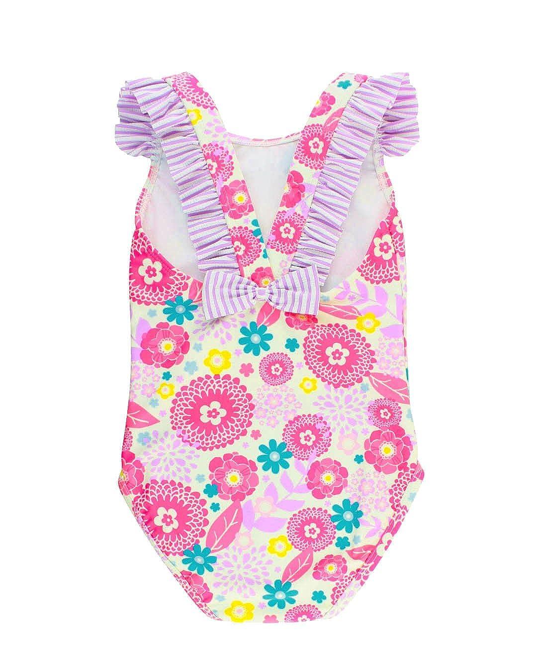 RuffleButts Baby/Toddler Girls Floral Seersucker Ruffle Strap One Piece Swimsuit SWSPUXX-1PBB-BABY