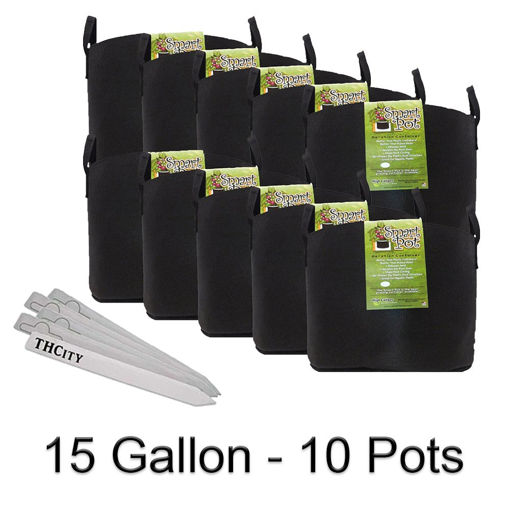 Smart Pot with Handles Fabric Garden Plant Container Planter Grow Pots + THCity Plant Stakes - 15 Gallon - 10 Pots