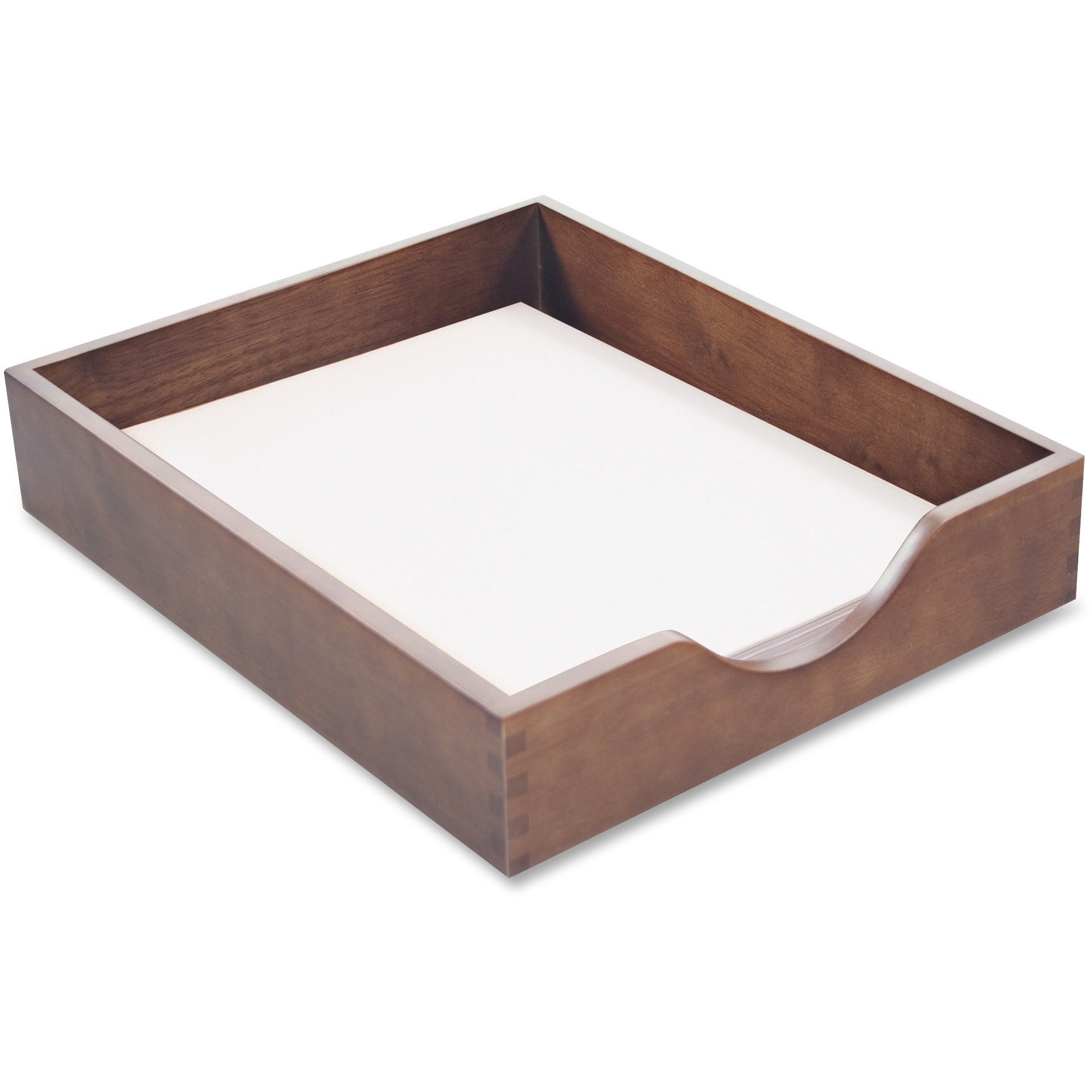 Carver Wood Products, INC. Products - Wood Desk Tray, Letter Size, Walnut - Sold as 1 EA - Desk tray is made of solid oak with walnut finish. Includes a felt protector. Tray requires a set of Carver supports for stacking.