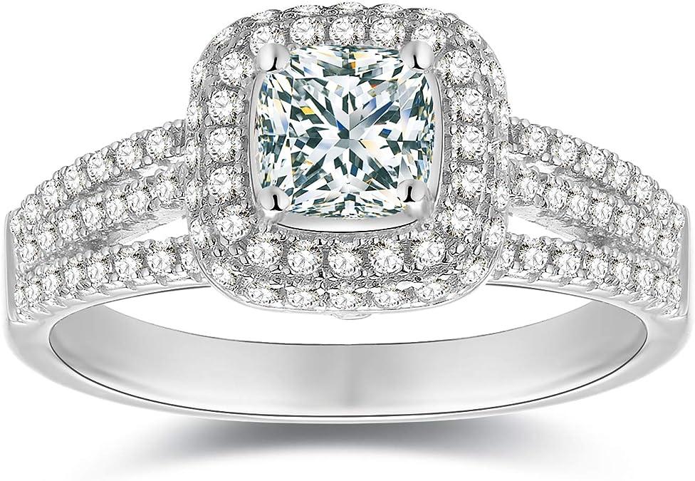 Wedding Ring Set Cushion 6mm Natural White Topaz Ring Sterling Silver Engagement Ring Diamond Simulant Ring Silver Bridal Ring Set