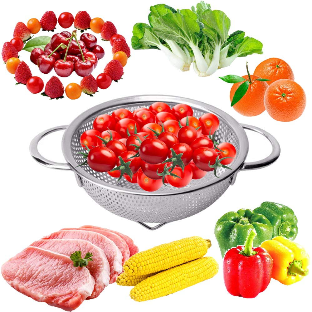 TEERFU Kitchen Stainless Steel Colander Strainer - Best Food Colander, Micro Perforated, Metal, with Handles, for Spaghetti, Rice,Orzo,Vegetables &Fresh Fruits Salad