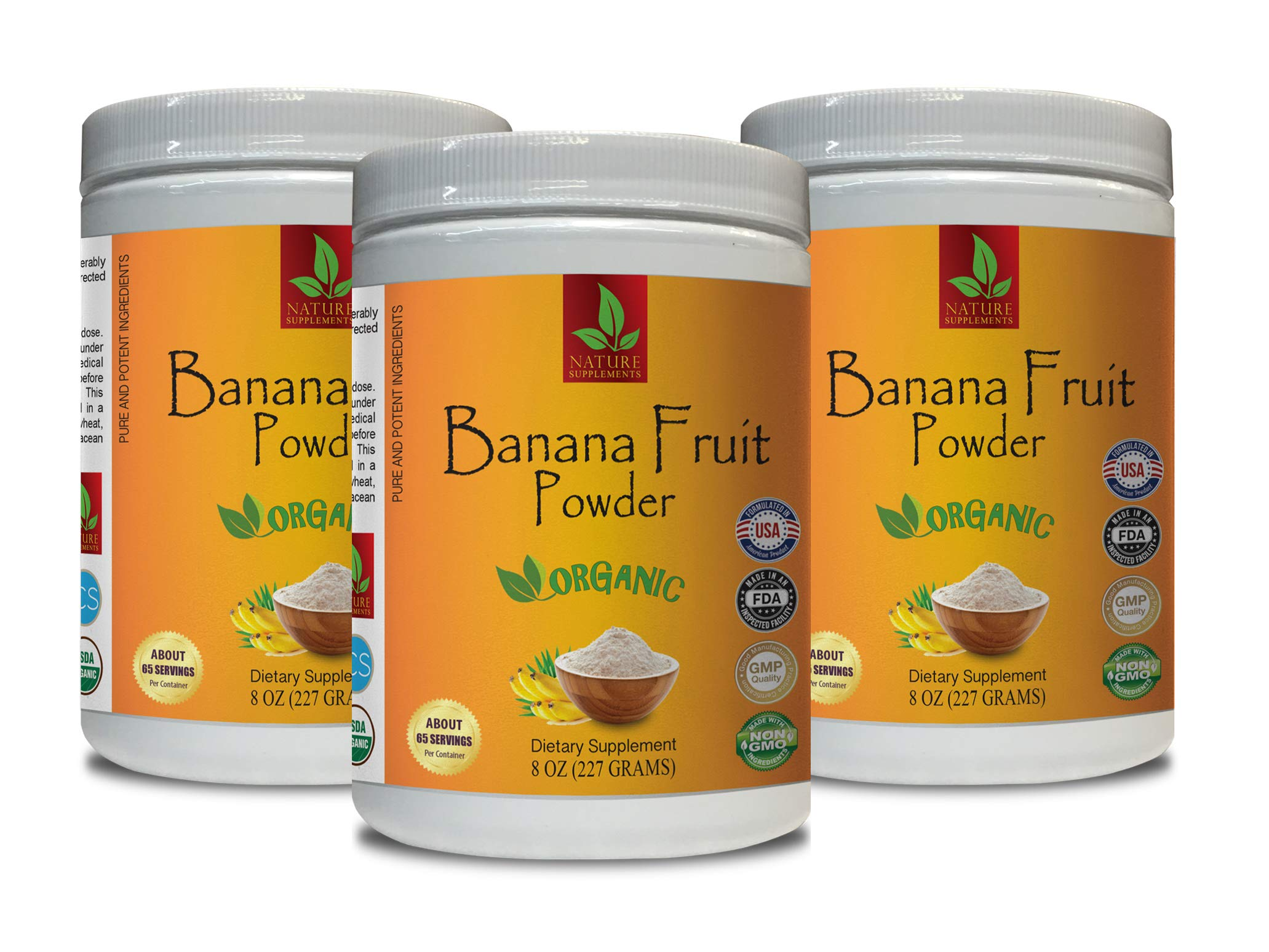 Energy boosters and Weight Loss Supplements - Banana Fruit Organic Powder - Pure and Potent Ingredients - Digestion Plus - 3 Cans 24 OZ (195 Servings)