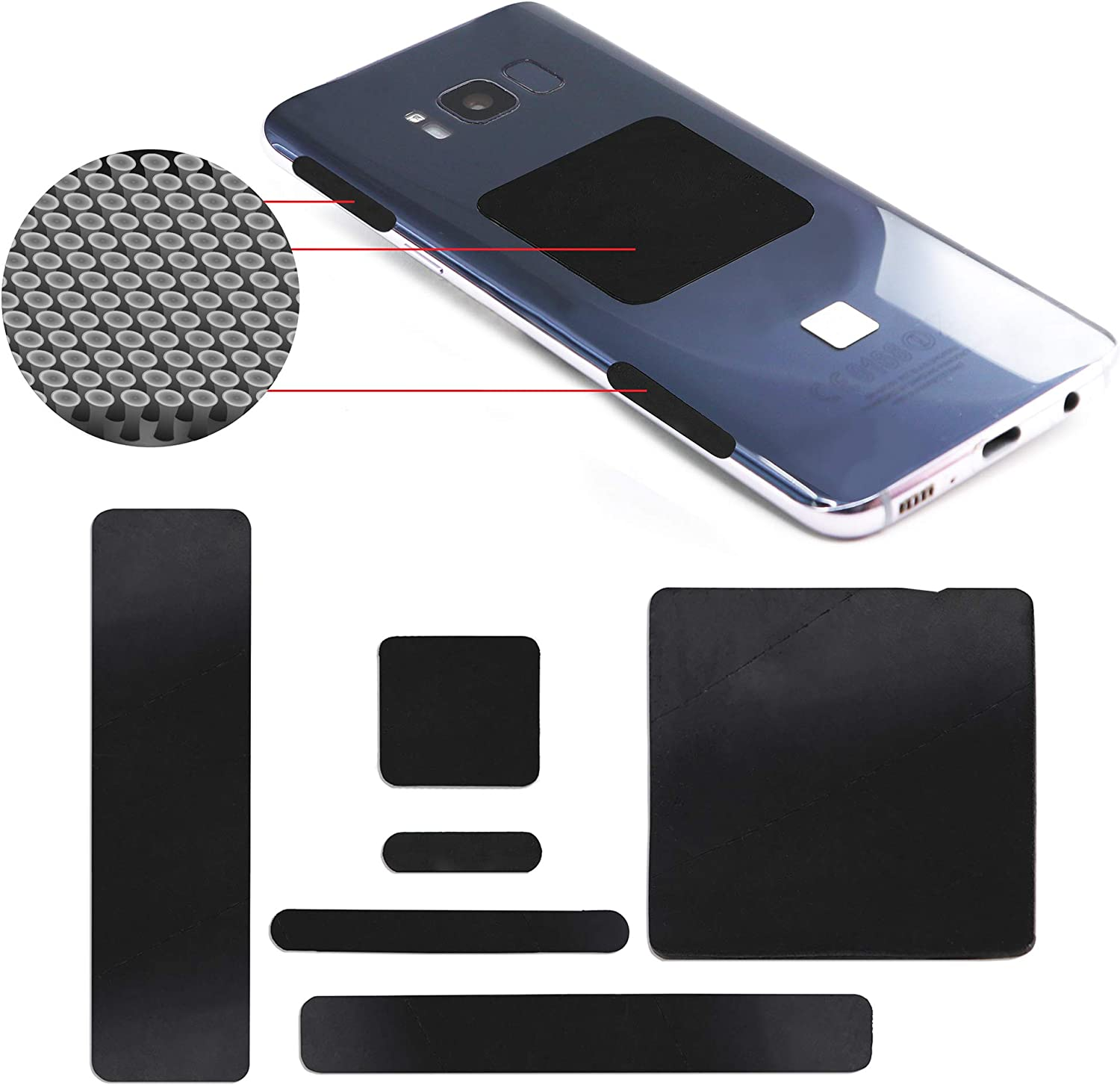 Setex Gecko Grip Anti-Slip Assorted Grip Pads for iPhone, Tablet, Laptop, Camera, Game Controller, Tools, Micro-Structured Fibers, USA Made, 18 Black Pads