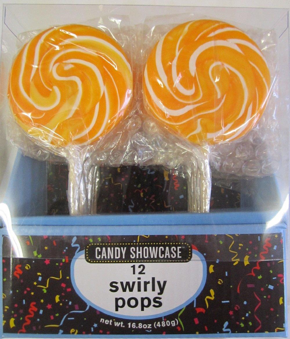 24 Large 3'' Swirl Lollipops Orange (2 Packs of 12)