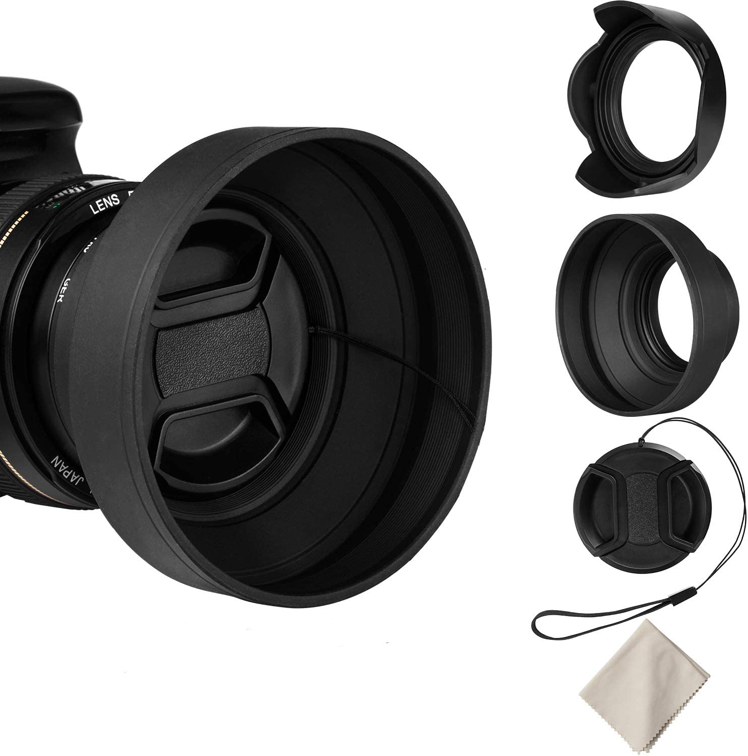 Veatree 52mm Lens Hood Set, Collapsible Rubber Lens Hood with Filter Thread + Reversible Tulip Flower Lens Hood + Center Pinch Lens Cap + Microfiber Lens Cleaning Cloth