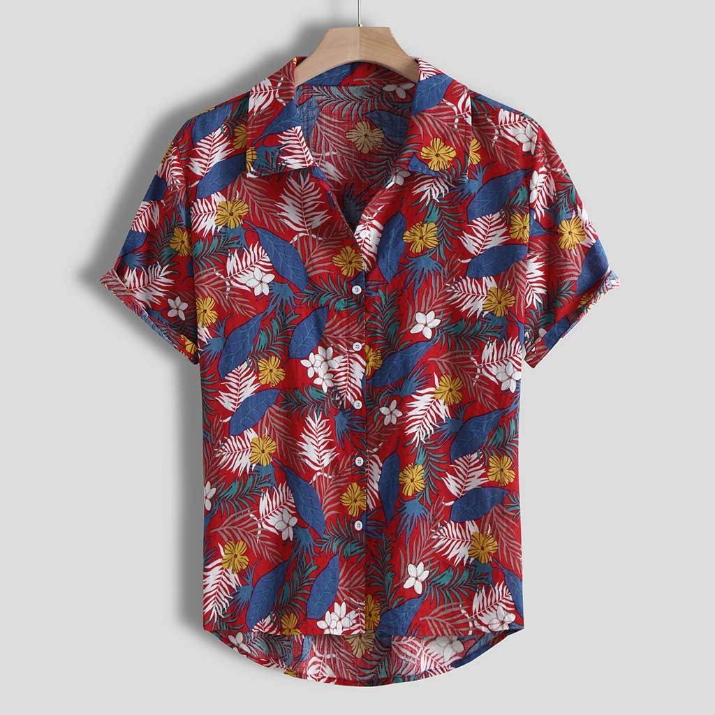 Camisa Hawaiana del Hombre Camisetas De Los Hombres Camisa De Manga Corta Hombre BotóN Estampado De Flores Camisetas Camisa A Rayas Camisas Tropicales del Partido Ancho De La Playa Tongshi: Amazon.es: Ropa