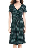 YEEZ Women's V-Neck Ruched Waist Casual Polka Dot Maternity Party Dress