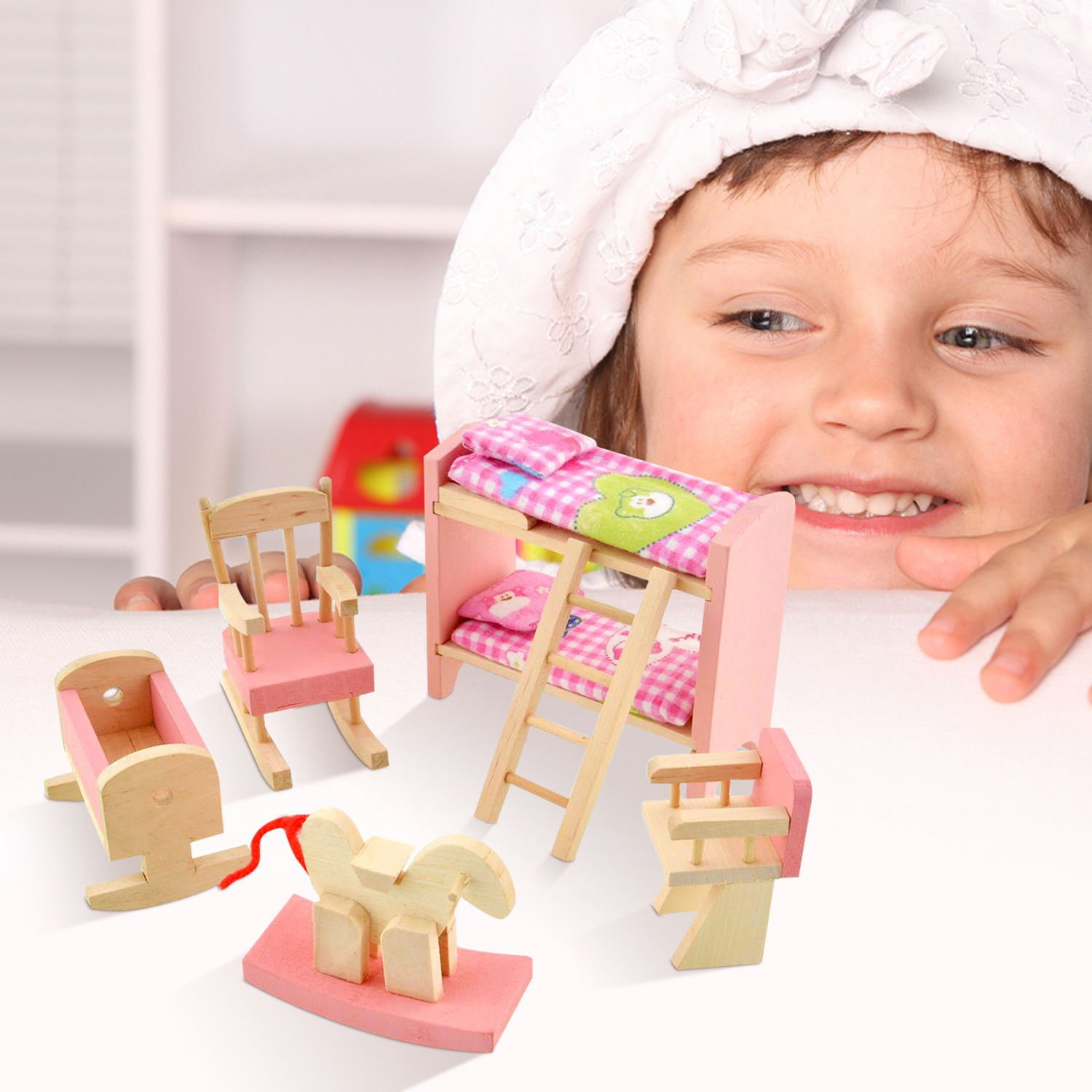 Wooden Doll House Furniture Set,Miniature Bathroom/Kid Room/Kitchen House Nursery House Furniture Dollhouse Decoration Accessories for Kids Toddlers Children Pretend Role Play Toy By Peradix(Bunk Bed)