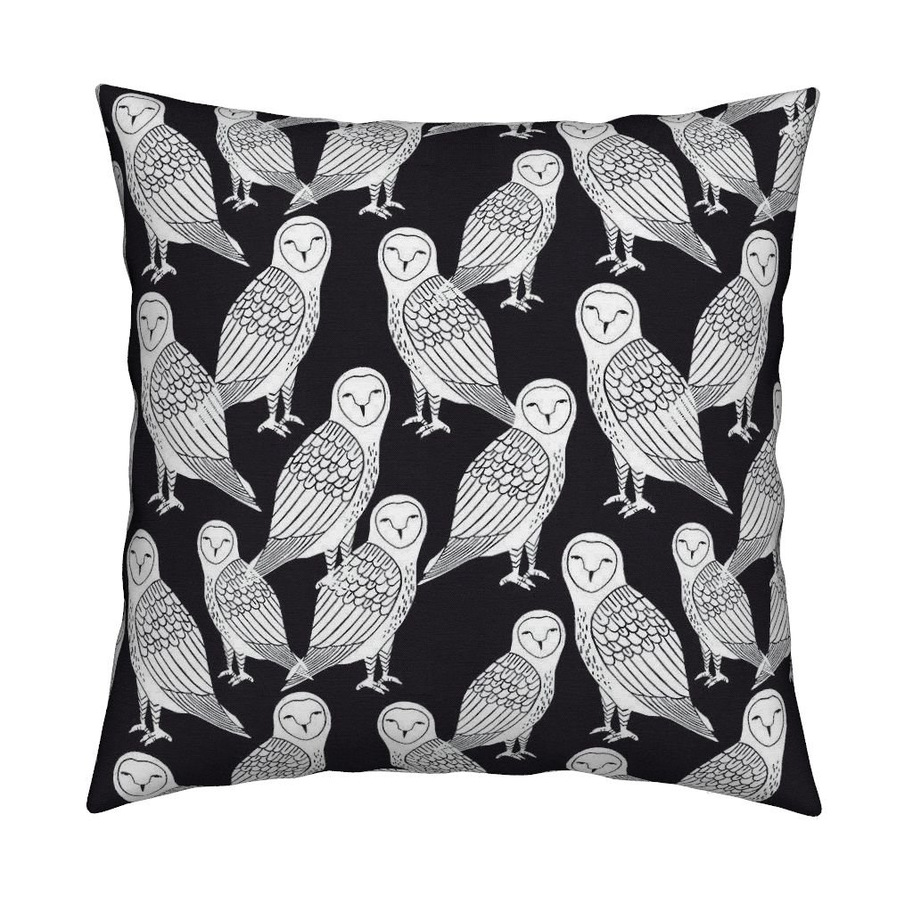 Amazoncom Roostery Owl Black And White Bird Block Print Linen