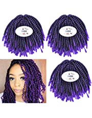 MSBELLE 3 Packs/lot Crochet Braiding Hair Extensions 9 Inch Kinky Curly Short Synthetic Crochet Braids Hair Ombre Color Mixing Black and Light Brown