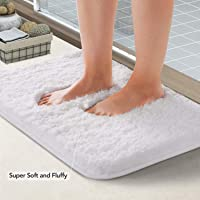 Lifewit Machine Washable Bathroom Rug Bath Mat Non-Slip Rubber Microfiber Soft Water Absorbent Thick Shaggy Floor Mats (White)