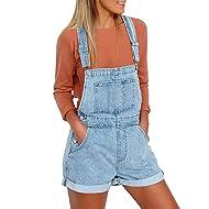 Vetinee Women's Light Blue Classic Adjustable Straps Cuffed Hem Denim Bib Overall Shorts Medium