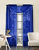 "Qutain Linen 56"" Wide X 216"" Long Royal Blue Sheer Window / Wedding Scarf New Arrival Sale!"