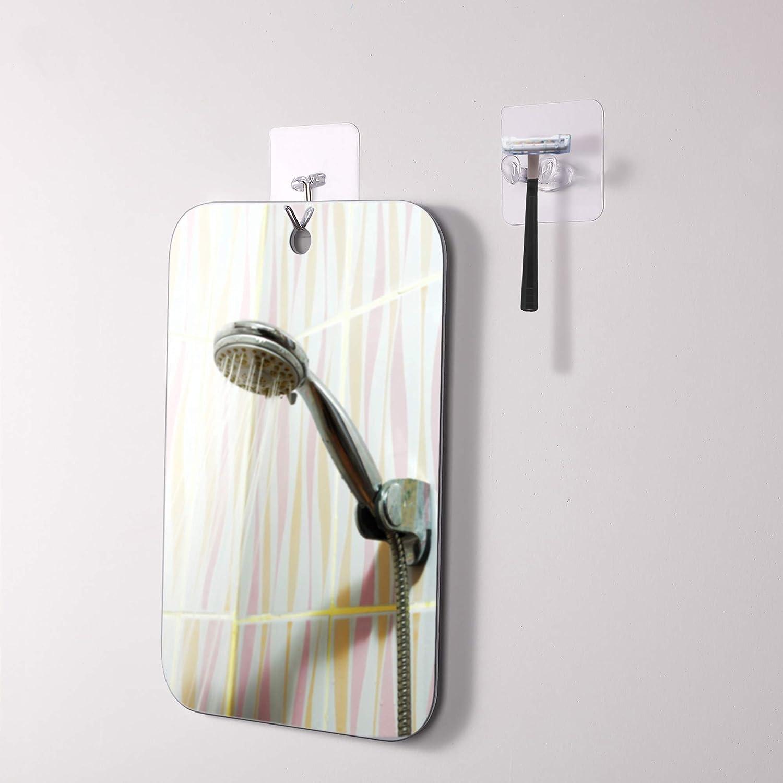 11 x 7,5 Pollici// 28 x 19 cm Larga Fogless Specchio da Doccia Specchio Senza Nebbia Trucco Barba Specchio da Parete Specchio Leggero Senza Cornice con 2 Pezzi Ventosa Gancio Adesivi