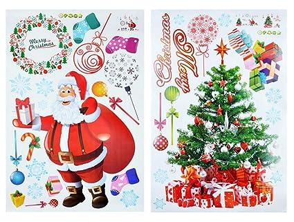 keynice christmas decorations wall stickers santa claus christmas tree window clings decal home dcor - Santa Claus Christmas Tree Decorating Ideas