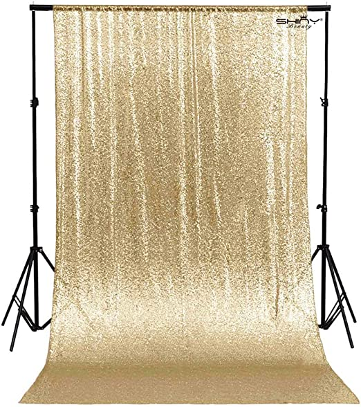 Yellow Glitter Backdrop Curtain Photo Backdrop 4FTx7FT Sequins Shimmer Curtains for Backdrop 1011E