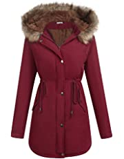 ELESOL Women's Military Hooded Warm Winter Parkas Faux Fur Lined Jacket Coats