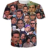 T-Shirt 3D Print Many Faces of Michael Scott Paparazzi Short Sleeves