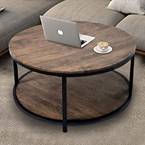 "36""Round Coffee Table, Rustic Wooden Surface Top & Sturdy Metal Legs Industrial Sofa Table for Living Room Modern Design Home Furniture with Storage Open Shelf (Light Walunt)"