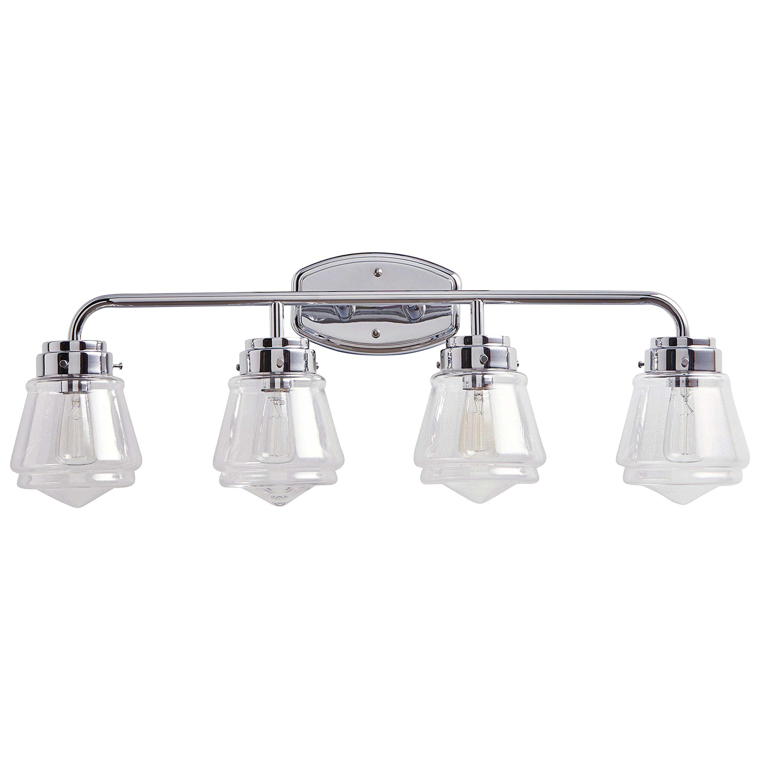 Stone & Beam Vintage 4-Light Vanity Fixture, 11.5''H, With Bulb, Chrome with Glass Shade