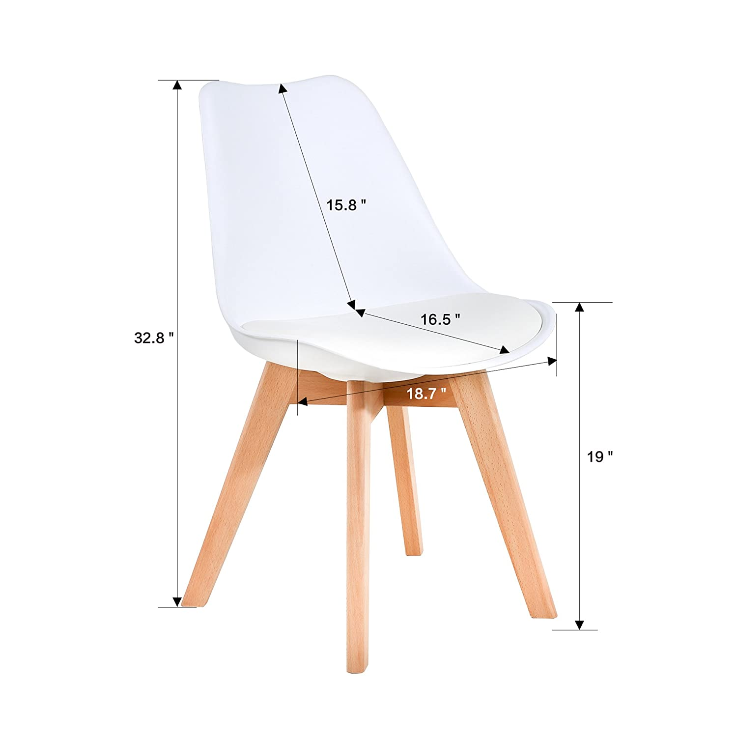 LSSBOUGHT Set of 2 Eames-Style Soft Padded Seat Dining Chairs with Solid Wooden Legs White