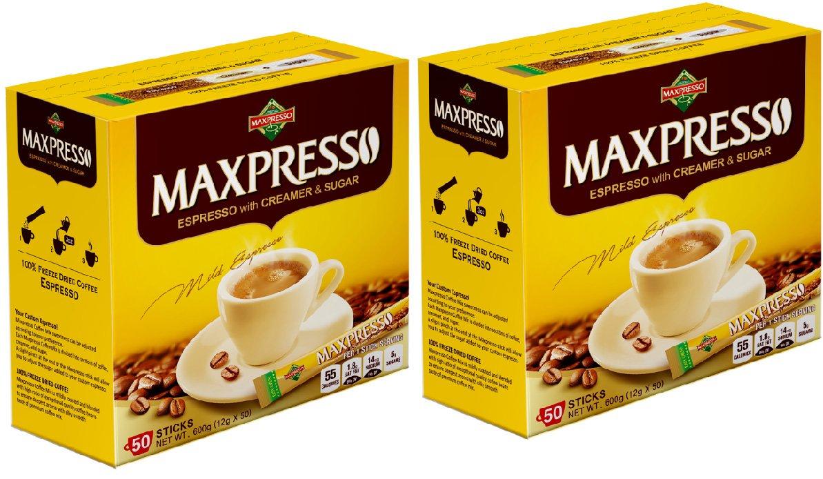 Maxpresso Instant Coffee, Espresso, 50 sticks (Pack of 2)